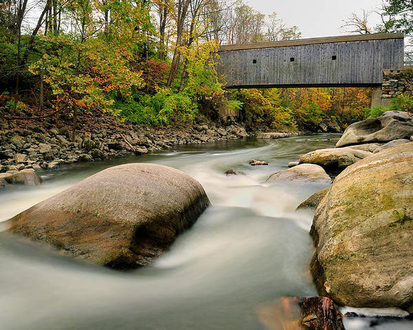 Covered Bridge Poster featuring the photograph Covered Bridge At Bull Run - Kent Connecticut by Thomas Schoeller