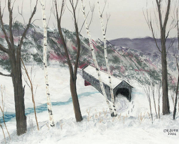 Nature Poster featuring the pastel Covered Bridge by George Burr