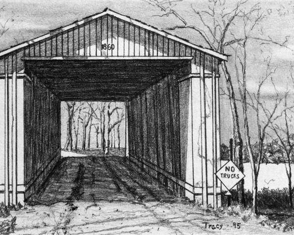 Covered Bridge Poster featuring the drawing Covered Bridge by Robert Tracy