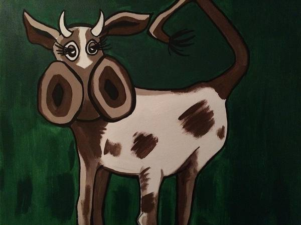 Cow Poster featuring the painting Cow by Amanda Lavoy
