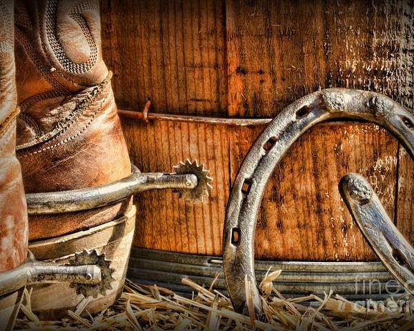 Western Spurs Poster featuring the photograph Cowboy Boots And Spurs by Paul Ward