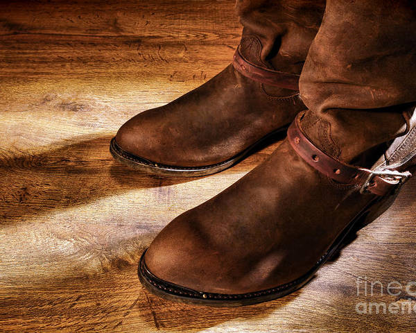 Boots Poster featuring the photograph Cowboy Boots On Saloon Floor by Olivier Le Queinec