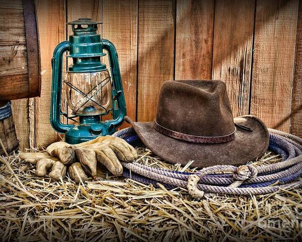 Barn Poster featuring the photograph Cowboy Hat And Rodeo Lasso by Paul Ward