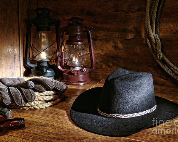 Western Poster featuring the photograph Cowboy Hat And Tools by Olivier Le Queinec