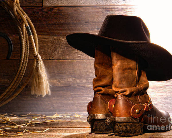Western Poster featuring the photograph Cowboy Hat On Boots by Olivier Le Queinec