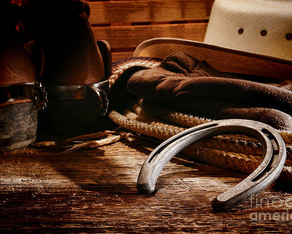 Western Poster featuring the photograph Cowboy Horseshoe by Olivier Le Queinec