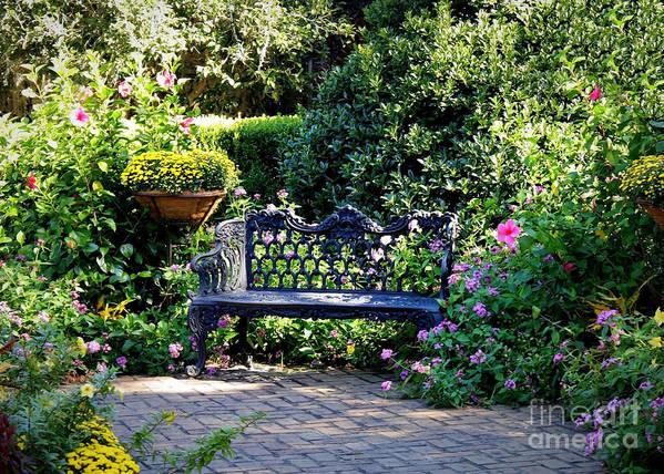 Garden Poster featuring the photograph Cozy Southern Garden Bench by Carol Groenen