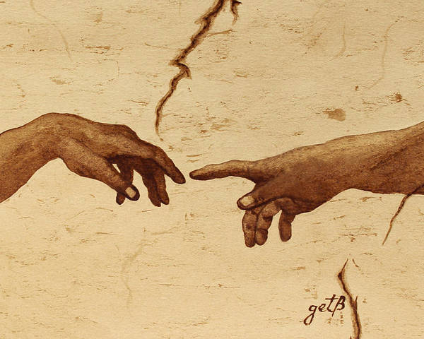 Creation Of Adam Poster featuring the painting Creation Of Adam Hands A Study Coffee Painting by Georgeta Blanaru