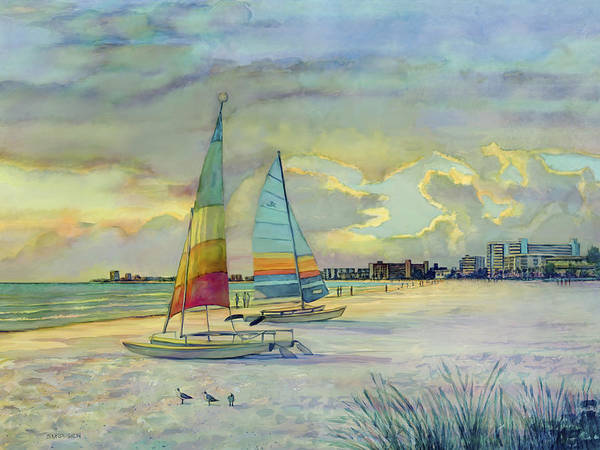 Hobie Cats Poster featuring the painting Crescent Beach Hobies At Sunset by Shawn McLoughlin