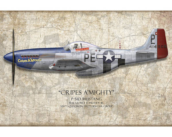 Aviation Poster featuring the painting Cripes A Mighty P-51 Mustang - Map Background by Craig Tinder