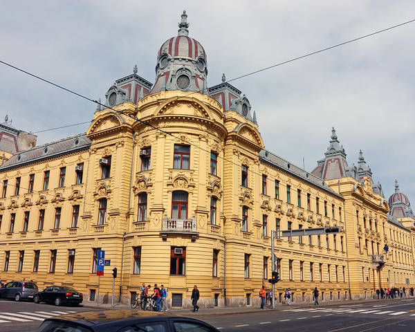 Croatia Poster featuring the photograph Croatian Railways Administration Building In Zagreb by Borislav Marinic