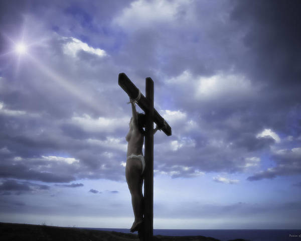 Landscape Poster featuring the photograph Crucifix In The Light by Ramon Martinez