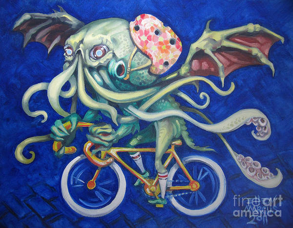 Cthulhu Poster featuring the painting Cthulhu On A Bicycle by Ellen Marcus
