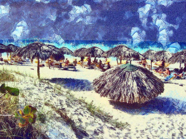 Cuba Poster featuring the painting Cuban Beach by Odon Czintos
