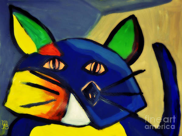 Cubism Poster featuring the painting Cubist Inspired Cat by Mindy Bench