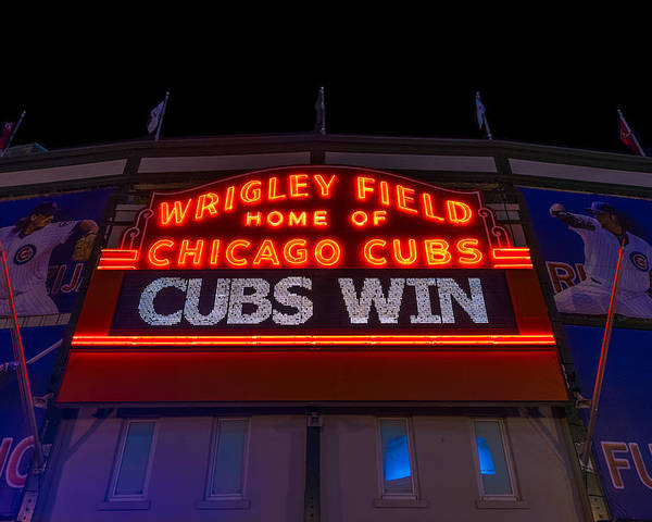 Marquee Poster featuring the photograph Cubs Win by Steve Gadomski