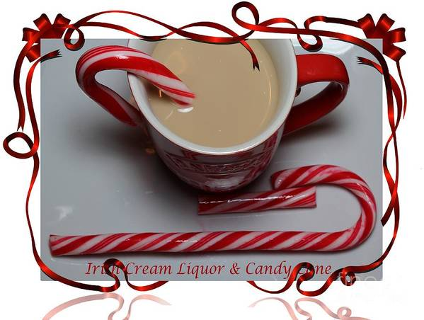 Cup Of Christmas Cheer Poster featuring the photograph Cup Of Christmas Cheer - Candy Cane - Candy - Irish Cream Liquor by Barbara Griffin