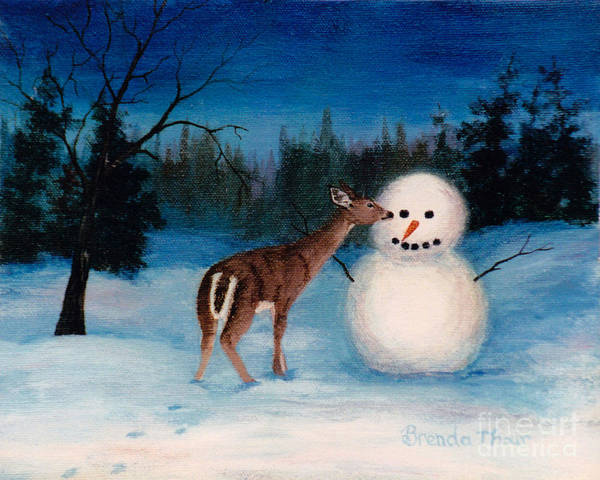 Snowman Poster featuring the painting Curiosity by Brenda Thour