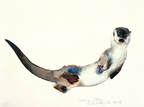 Otter Poster featuring the painting Curious Otter by Mark Adlington
