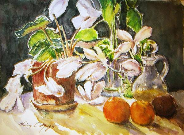Watercolor Poster featuring the painting Cyclamen With Tangerines And Kiwi by Vivian Castillo M