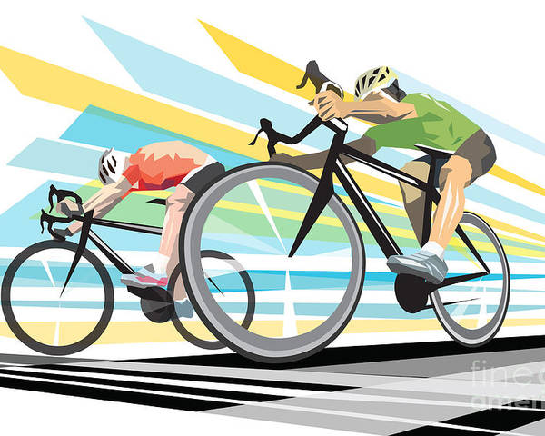Cycling Poster featuring the digital art Cycling sprint poster print Finish Line by Sassan Filsoof