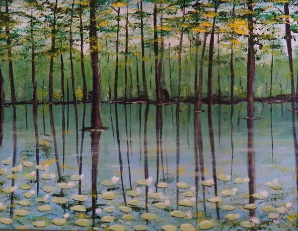 Water Lilies And Cypress Trees Reflecting In The Still Waters. Poster featuring the painting Cypress Garden by Richard Goohs