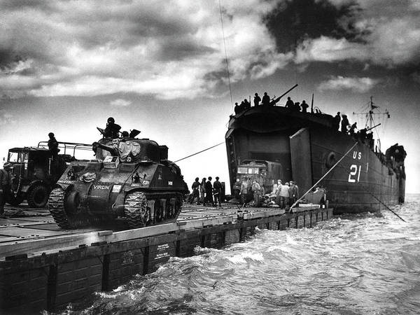 Human Poster featuring the photograph D-day Landings Harbour by Us National Archives