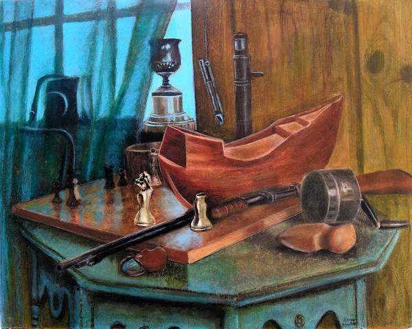 Antiques Poster featuring the pastel Dad's Things by Karen Roncari
