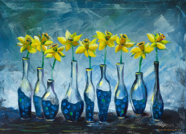 Daffodils Poster featuring the painting Daffodils by Gina De Gorna
