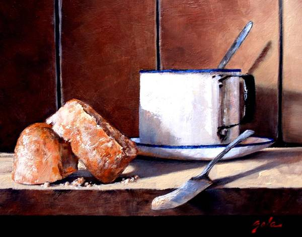 Still Life Poster featuring the painting Daily Bread Ver 2 by Jim Gola