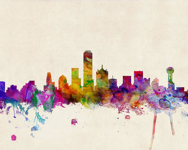 Watercolour Poster featuring the digital art Dallas Texas Skyline by Michael Tompsett