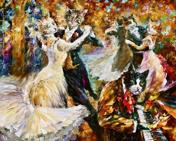 Cat Poster featuring the painting Dance Ball Of Cats by Leonid Afremov