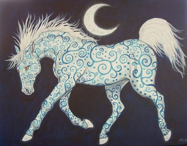 Celtic Poster featuring the painting Dance Of The Moon Horse by Beth Clark-McDonal