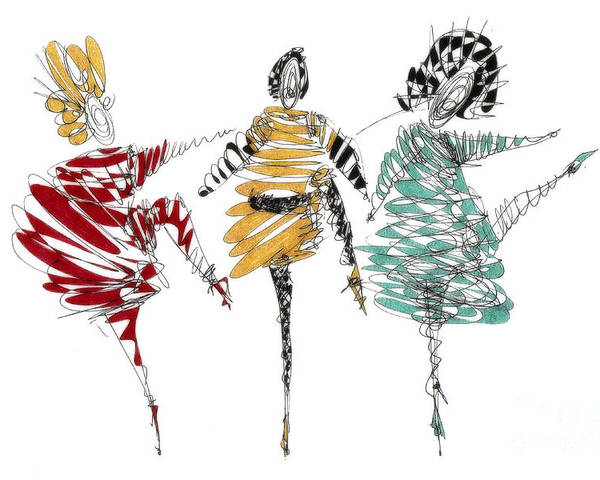 Dancer Art Poster featuring the drawing Dancers by Justyna JBJart
