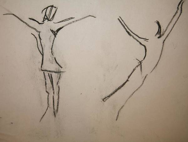 Dancing Poster featuring the drawing Dancing Girls by Elena Svobodina