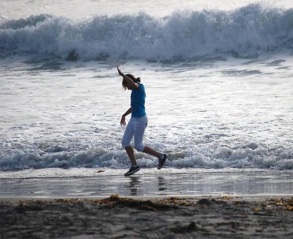 Ocean Beach Poster featuring the photograph Dancing On The Beach by Pamela Schreckengost
