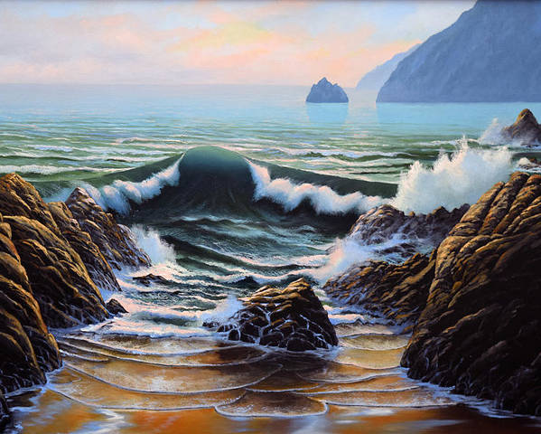 Seascape Poster featuring the painting Dancing Tide by Frank Wilson