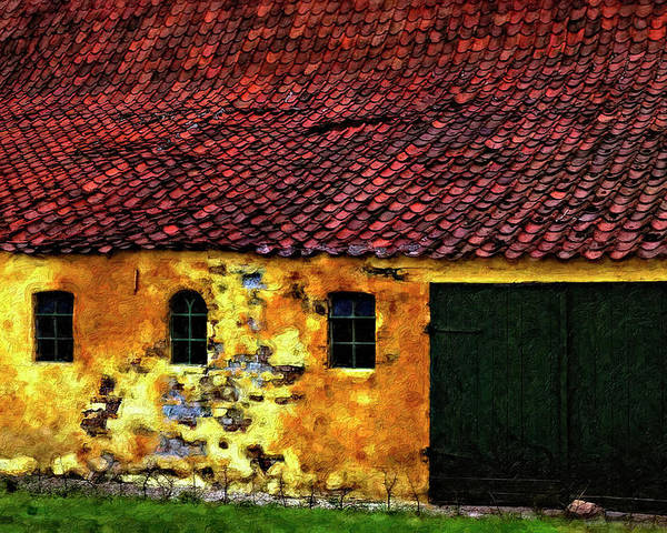 Barn Poster featuring the photograph Danish Barn Impasto Version by Steve Harrington