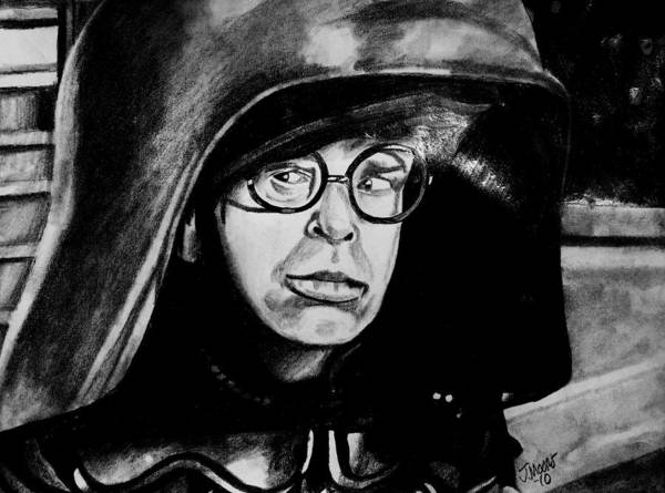 Dark Helmet Rick Moranis Spaceballs Mel Brooks Star Wars Jedi Sith Outer Space Scifi Fantasy Comedy Movie Actor Celebrity Poster featuring the drawing Dark Helmet by Jeremy Moore
