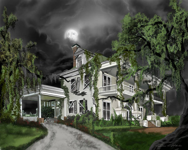 Poster featuring the painting Dark Plantation House by James Christopher Hill