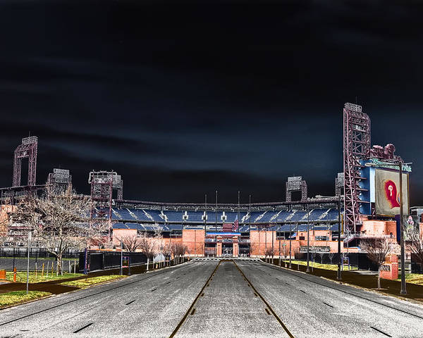 Dark Poster featuring the photograph Dark Skies At Citizens Bank Park by Bill Cannon
