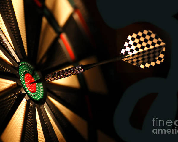 Accurate Poster featuring the photograph Dart Board In Bar by Michal Bednarek