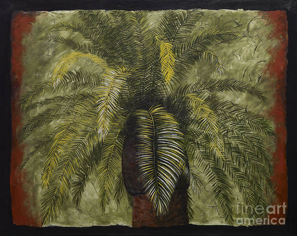 Palm Tree Art Poster featuring the painting Date Palm by Daniel Paul Hoffman