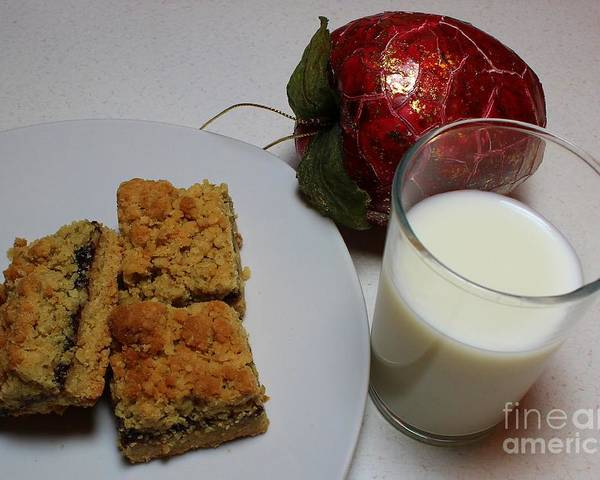 Dates Poster featuring the photograph Date Squares - Snack - Dessert - Milk by Barbara Griffin
