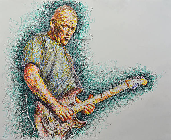 Dave Gilmour Formerly/presently Of pink Floyd Poster featuring the drawing Dave Gilmour by Breyhs Swan