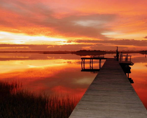 Orange Waterscapes Poster featuring the photograph Dawn Of New Year by Karen Wiles