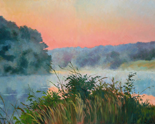 Impressionism Poster featuring the painting Dawn Reflection by Keith Burgess