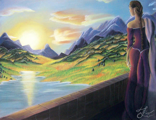 Sunset Poster featuring the painting Day's End by Alaina Ferguson