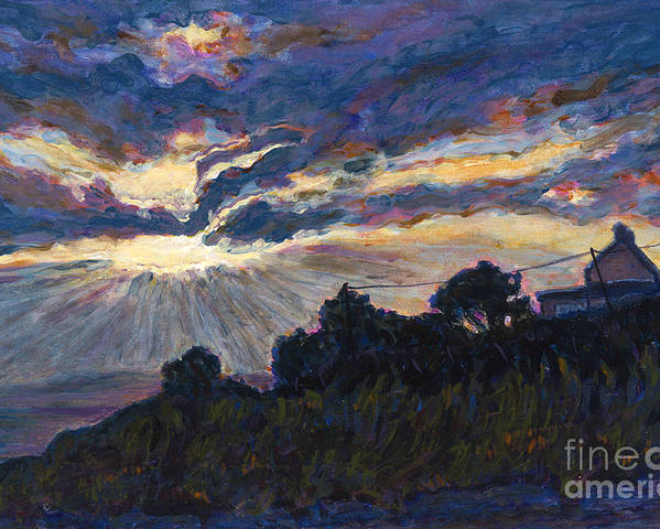 Sunset Poster featuring the painting Day's End - Dingle Bay by Betsee Talavera