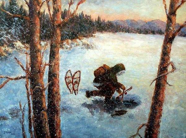 Ice Fishing Poster featuring the painting Days Last Catch by Robert Stump